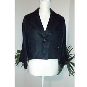 WHBM Black Linen Cropped Collared Blazer -